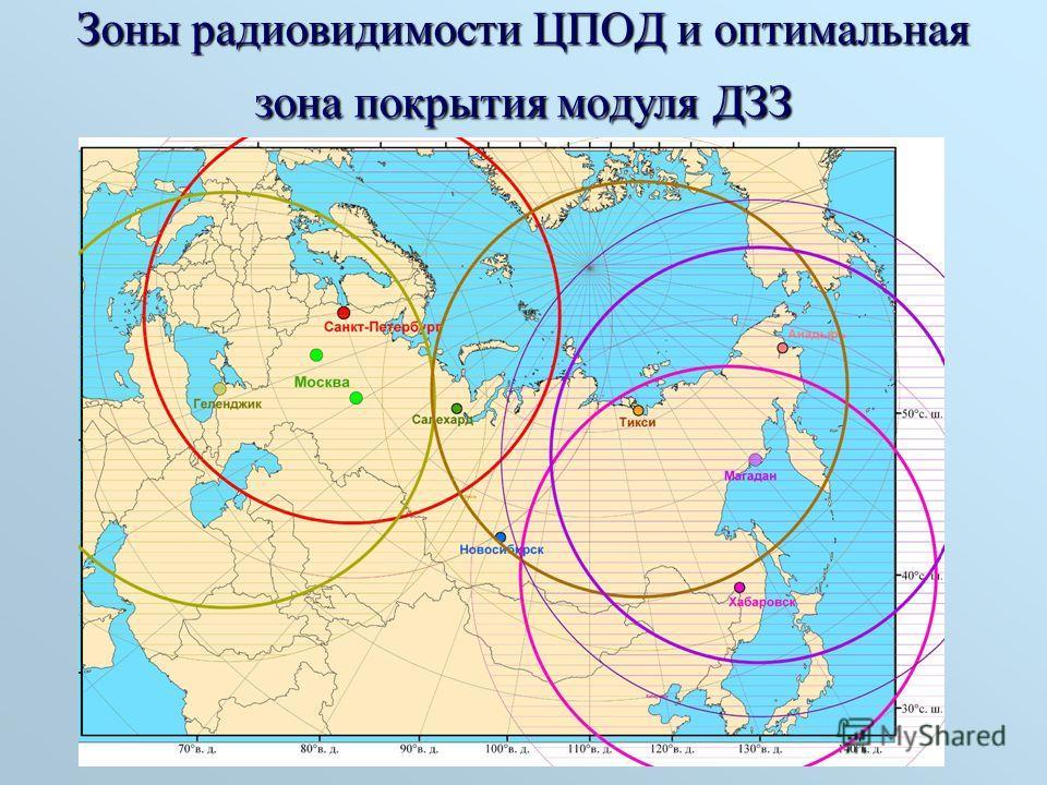 Зоны радиовидимости ЦПОД и оптимальная зона покрытия модуля ДЗЗ