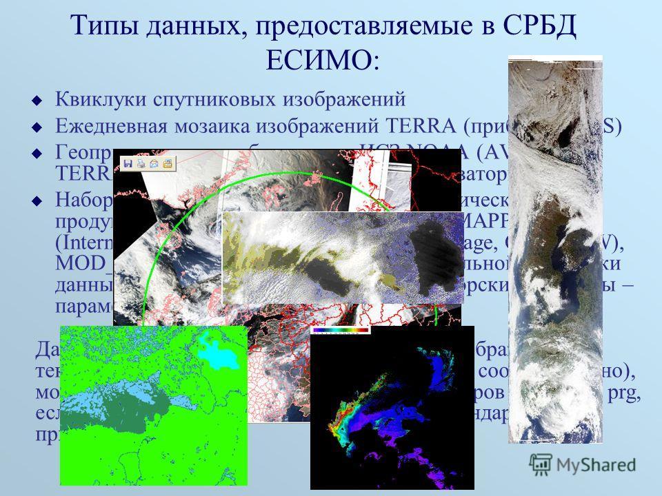 Типы данных, предоставляемые в СРБД ЕСИМО: Квиклуки спутниковых изображений Ежедневная мозаика изображений TERRA (прибор MODIS) Геопривязанные изображения с ИСЗ NOAA (AVHRR) и TERRA (прибор MODIS) по отдельным акваториям Набор автоматически генерируе