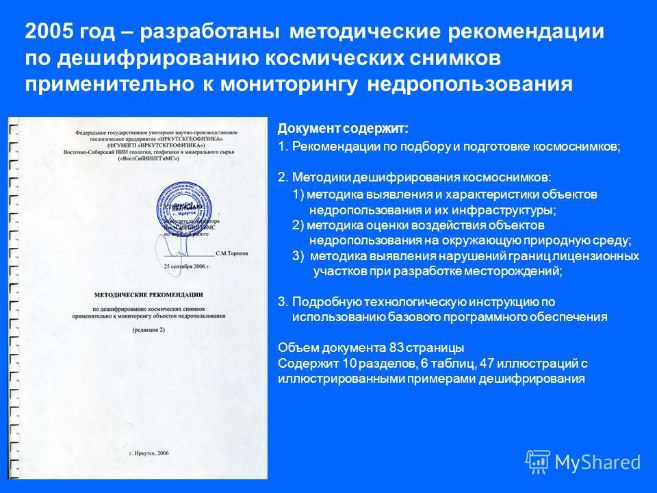 2005 год – разработаны методические рекомендации по дешифрированию космических снимков применительно к мониторингу недропользования Документ содержит: 1. Рекомендации по подбору и подготовке космоснимков; 2. Методики дешифрирования космоснимков: 1) м