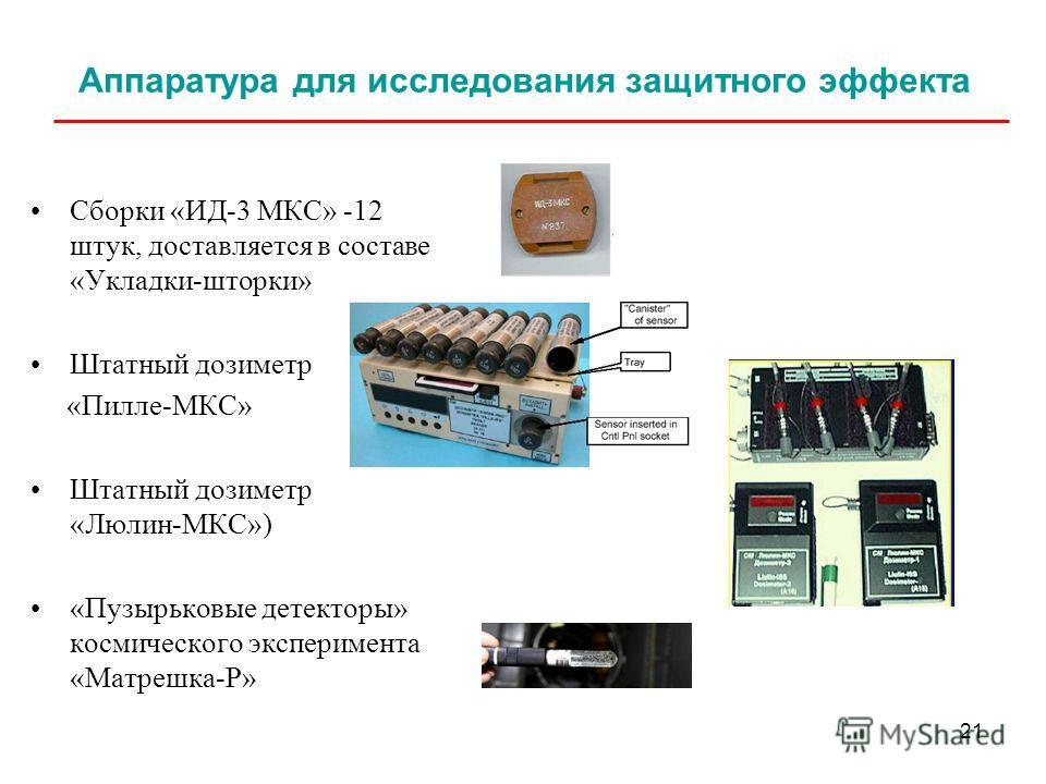 21 Аппаратура для исследования защитного эффекта Сборки «ИД-3 МКС» -12 штук, доставляется в составе «Укладки-шторки» Штатный дозиметр «Пилле-МКС» Штатный дозиметр «Люлин-МКС») «Пузырьковые детекторы» космического эксперимента «Матрешка-Р»