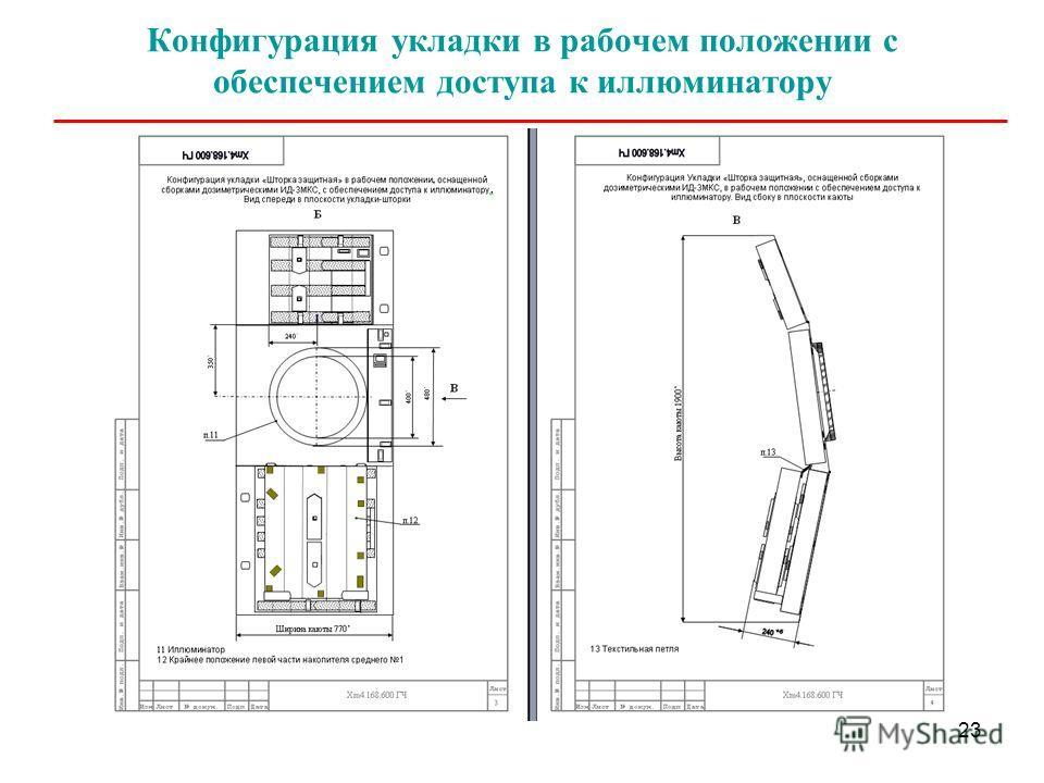 23 Конфигурация укладки в рабочем положении с обеспечением доступа к иллюминатору