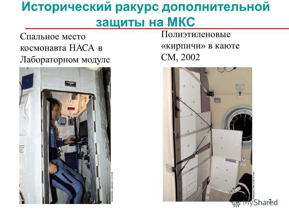 7 Исторический ракурс дополнительной защиты на МКС Спальное место космонавта НАСА в Лабораторном модуле (полиэтилен высокого давления), TESS 2001 Полиэтиленовые «кирпичи» в каюте СМ, 2002