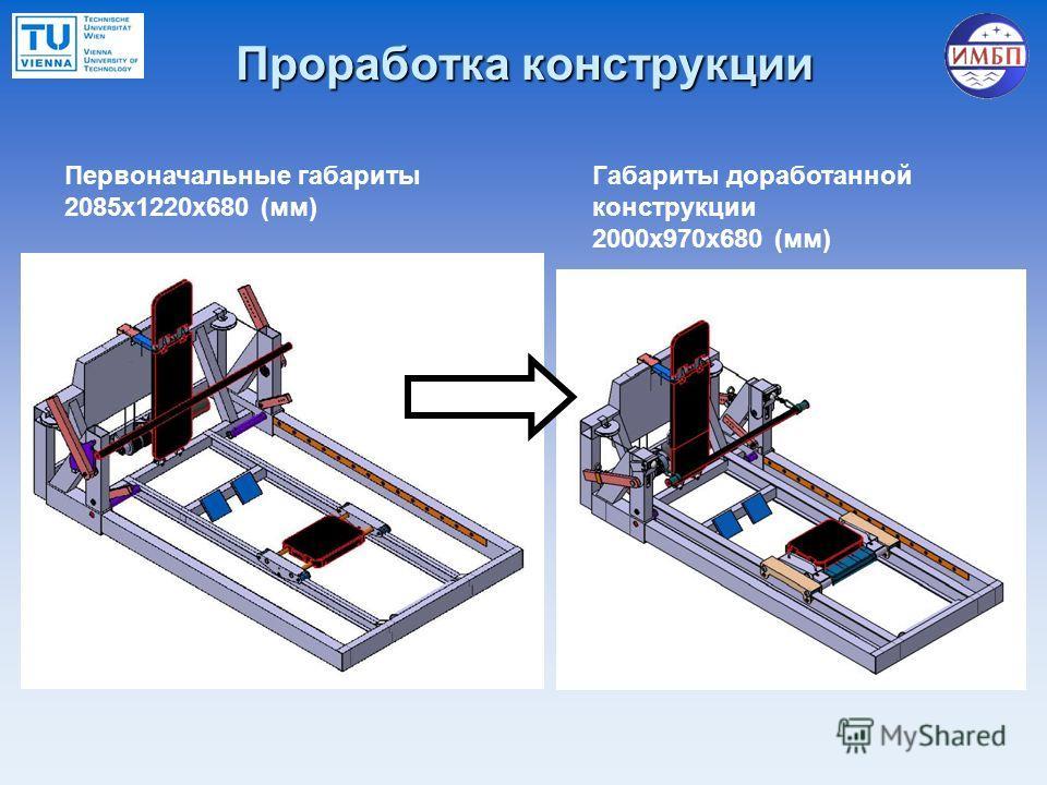 Проработка конструкции Первоначальные габариты 2085x1220x680 (мм) Габариты доработанной конструкции 2000x970x680 (мм)