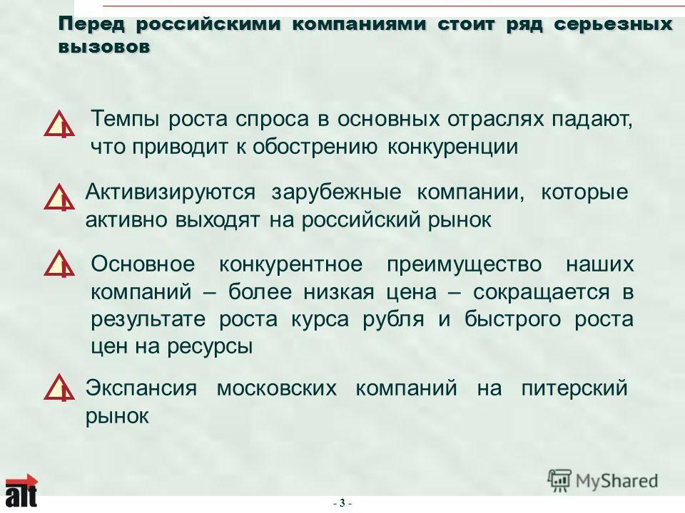 - 3 - Перед российскими компаниями стоит ряд серьезных вызовов Экспансия московских компаний на питерский рынок ! ! Темпы роста спроса в основных отраслях падают, что приводит к обострению конкуренции ! Активизируются зарубежные компании, которые акт
