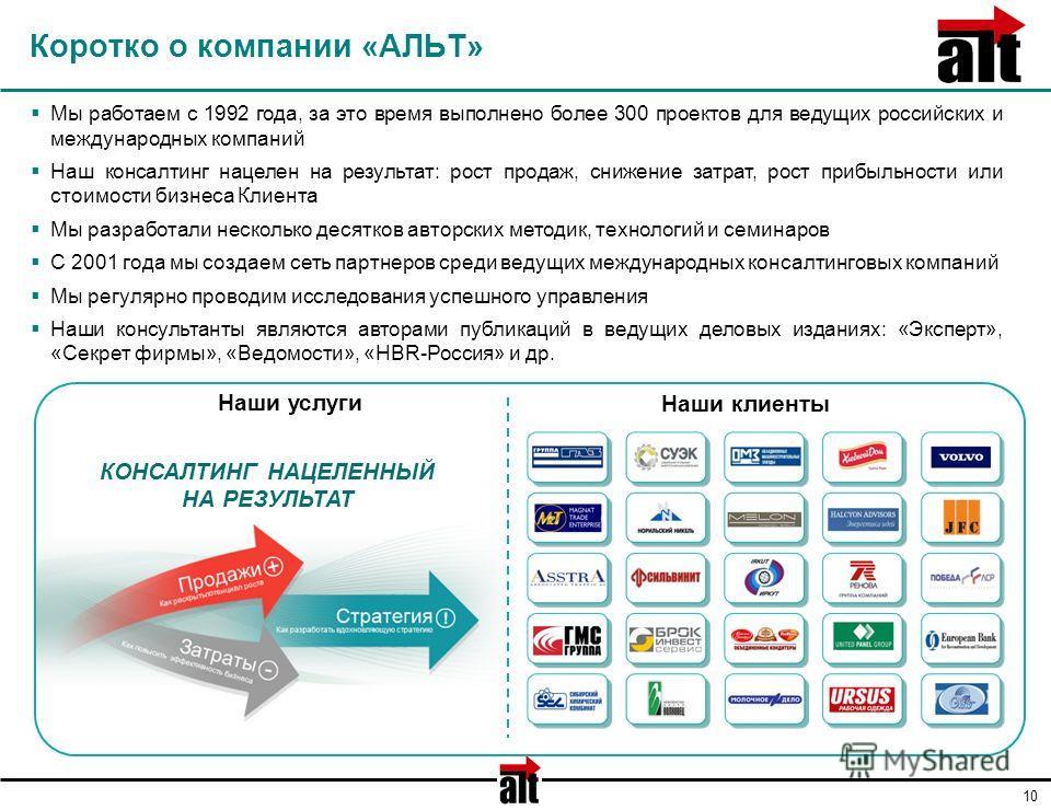 10 Коротко о компании «АЛЬТ» Мы работаем с 1992 года, за это время выполнено более 300 проектов для ведущих российских и международных компаний Наш консалтинг нацелен на результат: рост продаж, снижение затрат, рост прибыльности или стоимости бизнеса