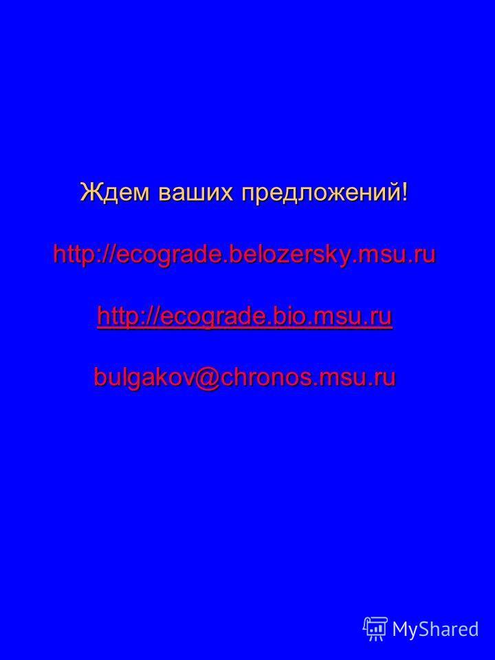 Ждем ваших предложений! http://ecograde.belozersky.msu.ru http://ecograde.bio.msu.ru bulgakov@chronos.msu.ru http://ecograde.bio.msu.ru