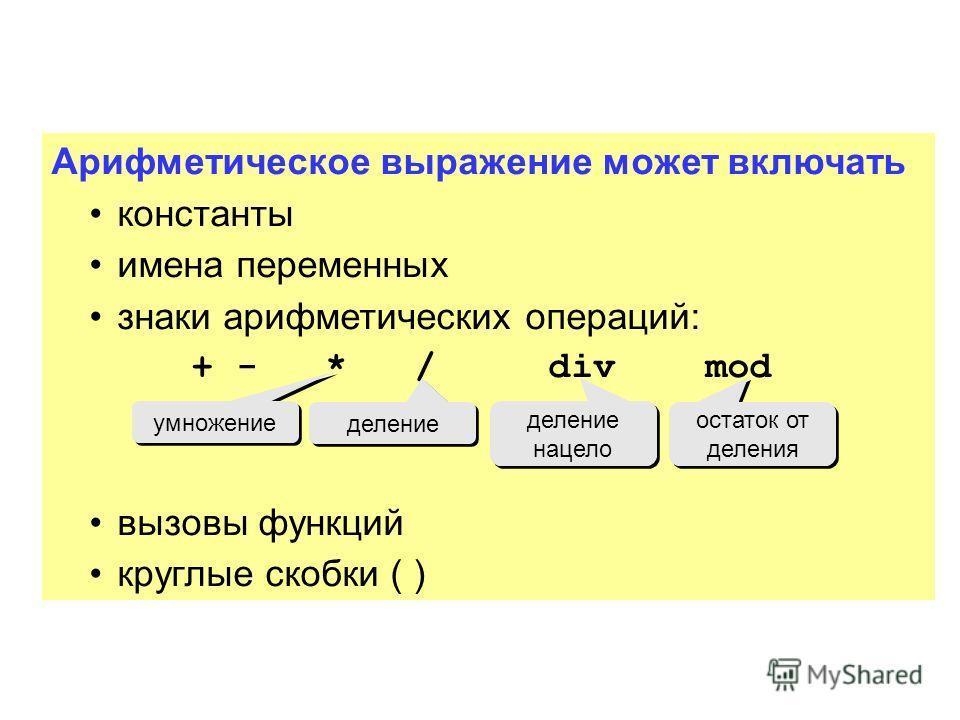Арифметическое выражение может включать константы имена переменных знаки арифметических операций: + - * / div mod вызовы функций круглые скобки ( ) умножение деление деление нацело остаток от деления