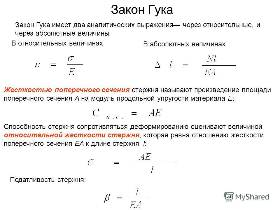 Закон Гука Закон Гука имеет два аналитических выражения через относительные, и через абсолютные величины В относительных величинах В абсолютных величинах Жесткостью поперечного сечения стержня называют произведение площади поперечного сечения А на мо