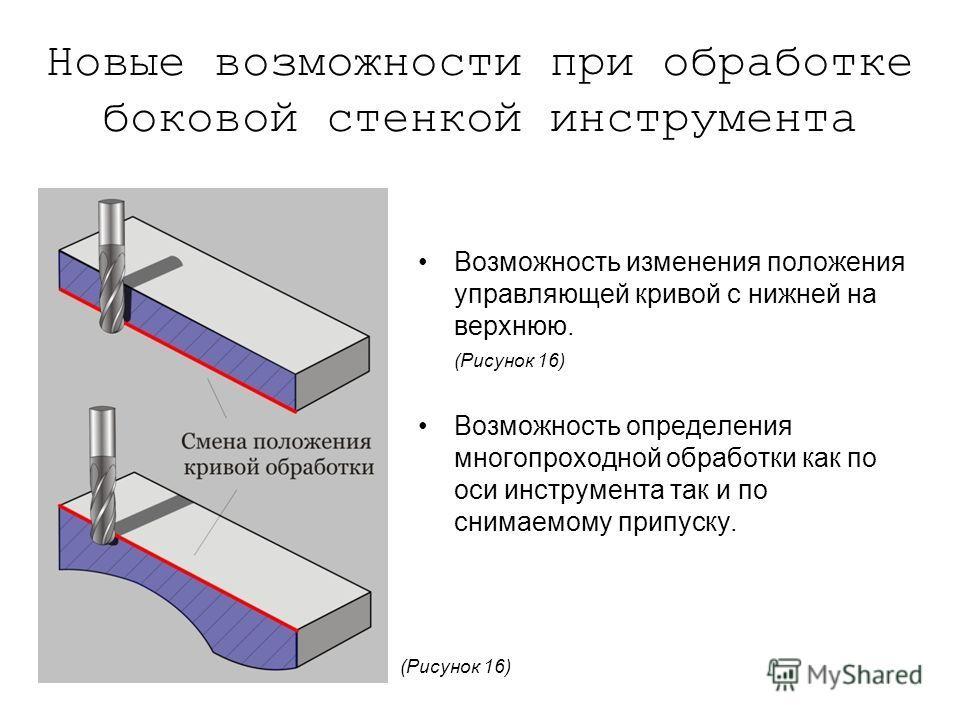 Новые возможности при обработке боковой стенкой инструмента Возможность изменения положения управляющей кривой с нижней на верхнюю. (Рисунок 16) Возможность определения многопроходной обработки как по оси инструмента так и по снимаемому припуску. (Ри