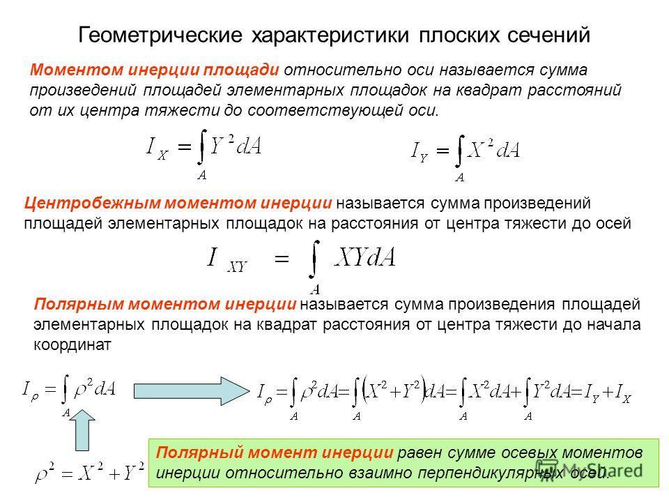 Моментом инерции площади относительно оси называется сумма произведений площадей элементарных площадок на квадрат расстояний от их центра тяжести до соответствующей оси. Центробежным моментом инерции называется сумма произведений площадей элементарны