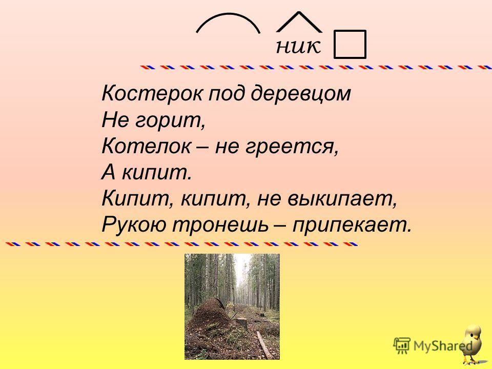 Костерок под деревцом Не горит, Котелок – не греется, А кипит. Кипит, кипит, не выкипает, Рукою тронешь – припекает. ник