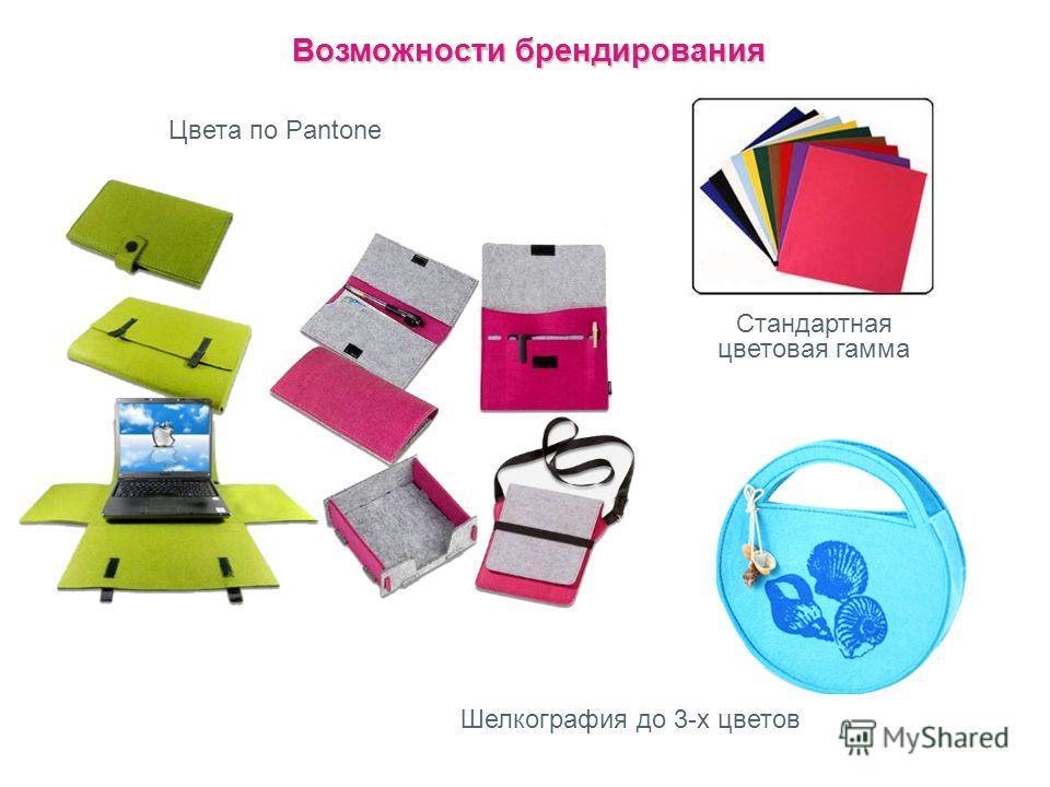 Возможности брендирования Цвета по Pantone Стандартная цветовая гамма Шелкография до 3-х цветов