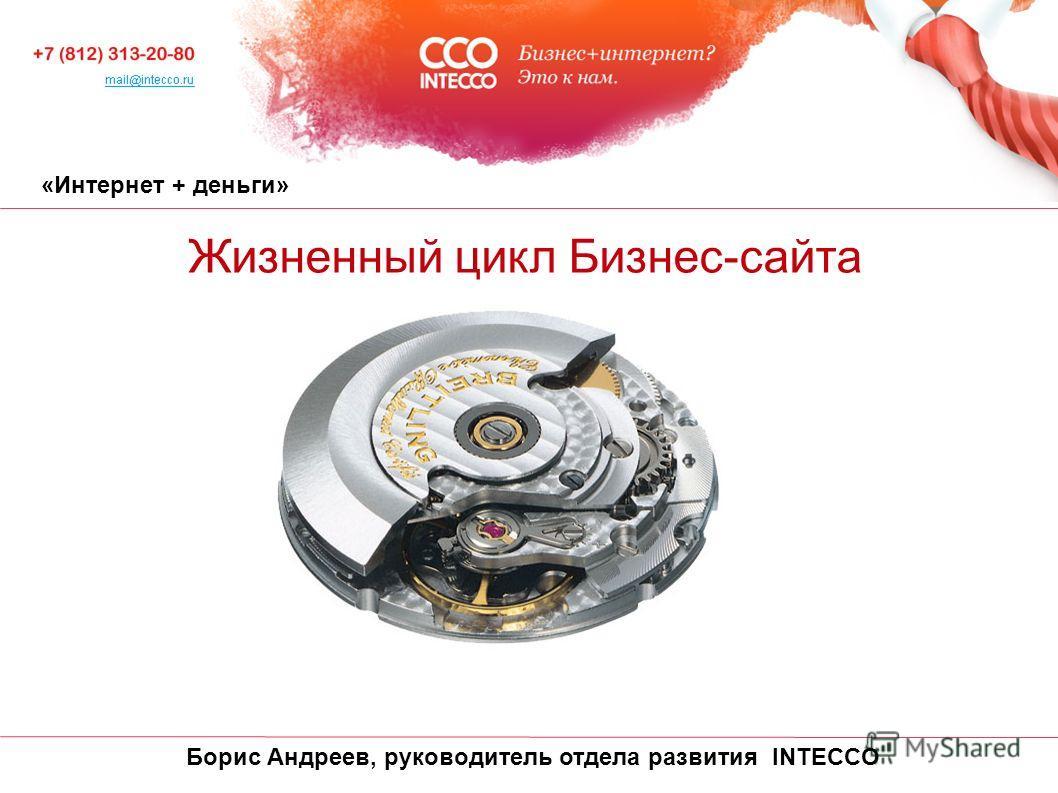 «Интернет + деньги» Жизненный цикл Бизнес-сайта Борис Андреев, руководитель отдела развития INTECCO