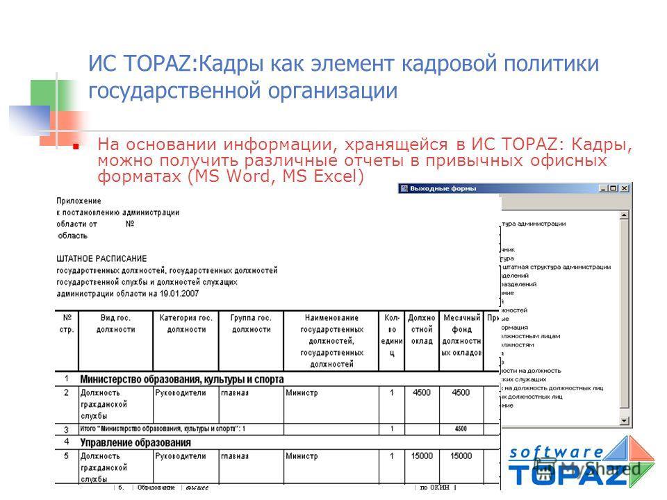 ИС TOPAZ:Кадры как элемент кадровой политики государственной организации Представление информации в виде документов, имеющих утвержденную форму: справки, анкеты, личные карточки сотрудника (форма Т-2, Т-2 ГС) и др.