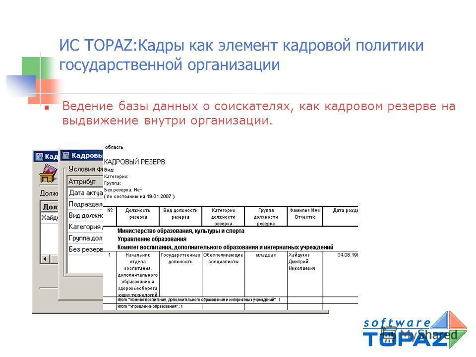 ИС TOPAZ:Кадры как элемент кадровой политики государственной организации Учет состояния и изменений по штатному расписанию, штатному замещению должностей, структуре организации, анкетным данным сотрудников