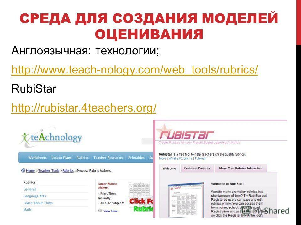 СРЕДА ДЛЯ СОЗДАНИЯ МОДЕЛЕЙ ОЦЕНИВАНИЯ Англоязычная: технологии; http://www.teach-nology.com/web_tools/rubrics/ RubiStar http://rubistar.4teachers.org/