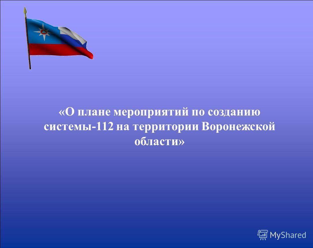 «О плане мероприятий по созданию системы-112 на территории Воронежской области»