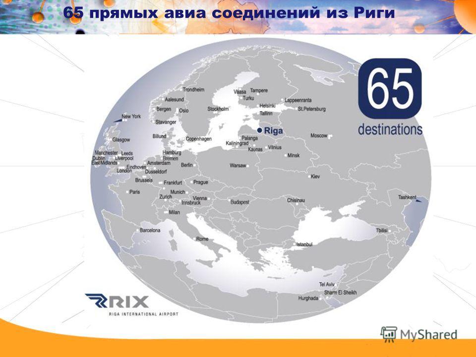 65 прямых авиа соединений из Риги