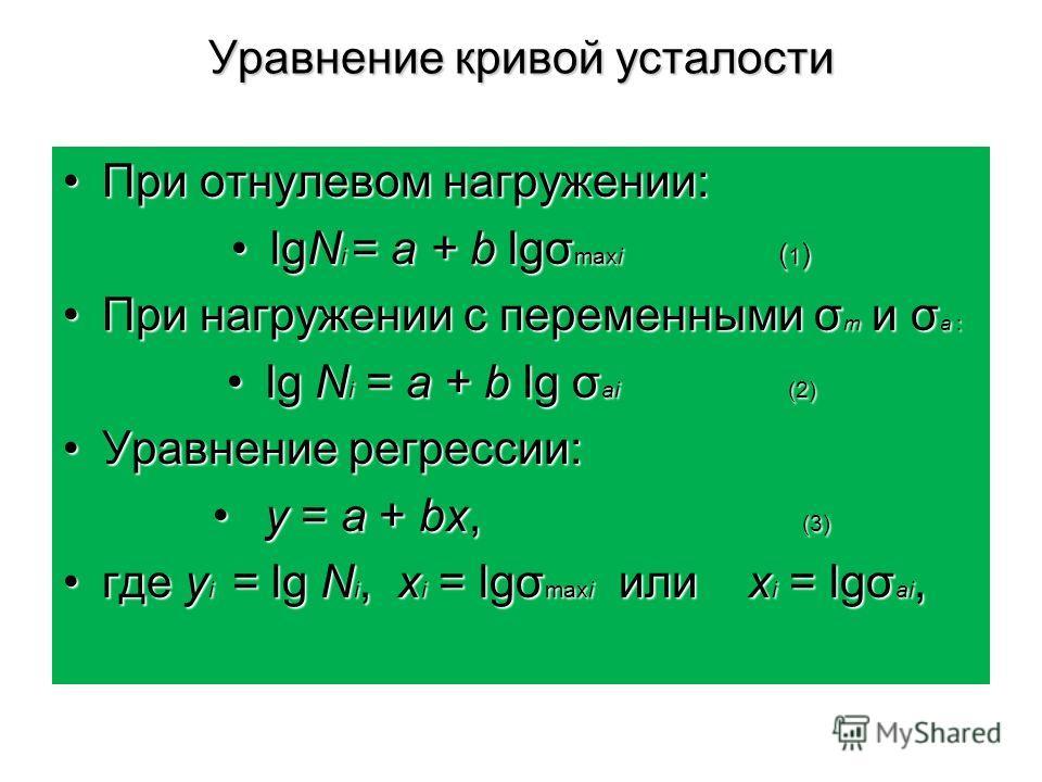 Уравнение кривой усталости При отнулевом нагружении:При отнулевом нагружении: lgN i = a + b lgσ maxi ( 1 )lgN i = a + b lgσ maxi ( 1 ) При нагружении с переменными σ m и σ a :При нагружении с переменными σ m и σ a : lg N i = a + b lg σ ai (2)lg N i =