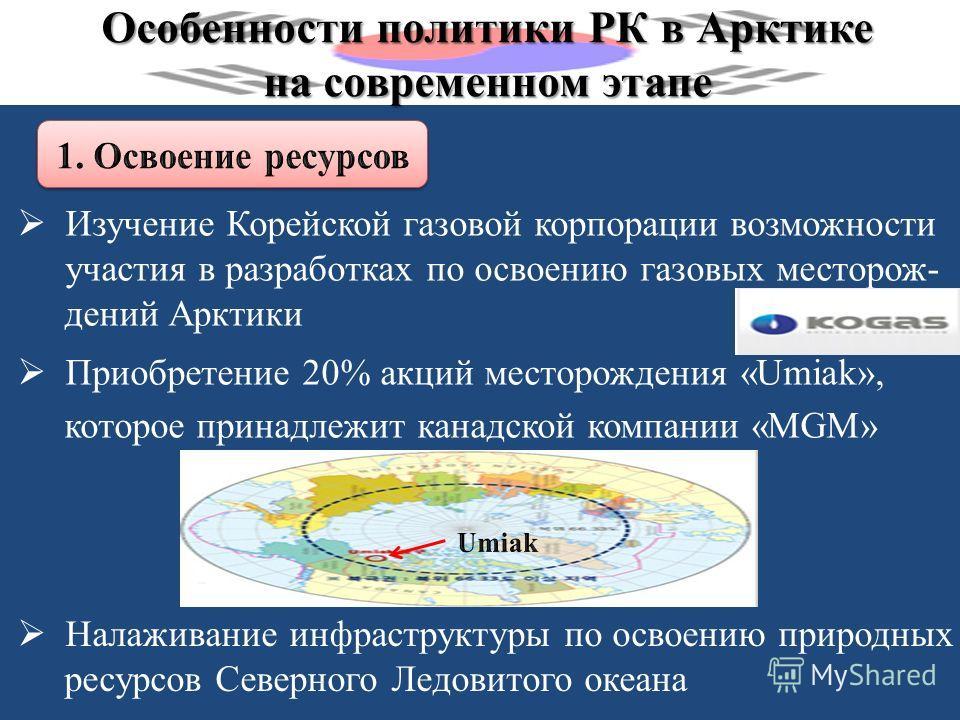 Особенности политики РК в Арктике на современном этапе Изучение Корейской газовой корпорации возможности участия в разработках по освоению газовых месторож- дений Арктики Приобретение 20% акций месторождения «Umiak», которое принадлежит канадской ком