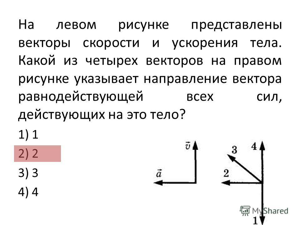 На левом рисунке представлены векторы скорости и ускорения тела. Какой из четырех векторов на правом рисунке указывает направление вектора равнодействующей всех сил, действующих на это тело? 1) 1 2) 2 3) 3 4) 4