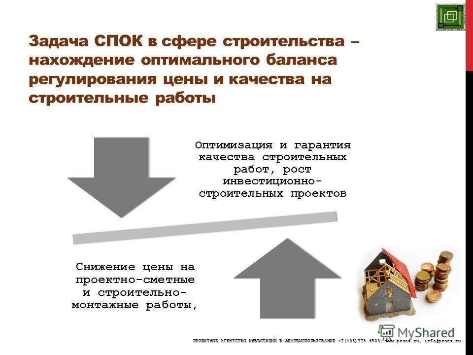 Задача СПОК в сфере строительства – нахождение оптимального баланса регулирования цены и качества на строительные работы Оптимизация и гарантия качества строительных работ, рост инвестиционно- строительных проектов Снижение цены на проектно-сметные и