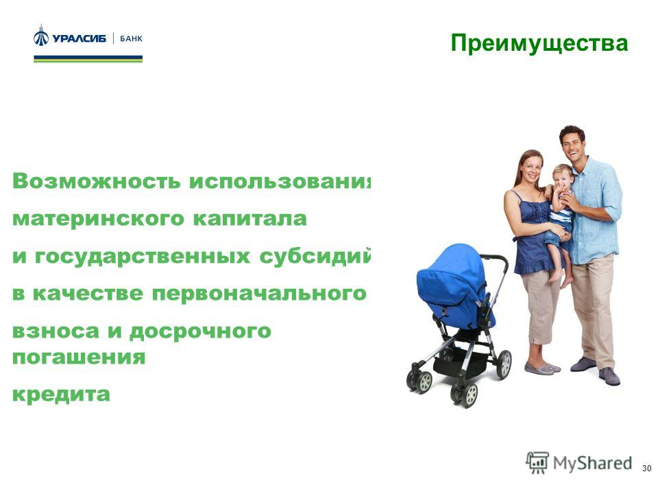 30 Преимущества Возможность использования материнского капитала и государственных субсидий в качестве первоначального взноса и досрочного погашения кредита