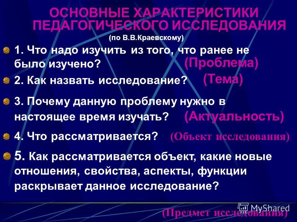 ОСНОВНЫЕ ХАРАКТЕРИСТИКИ ПЕДАГОГИЧЕСКОГО ИССЛЕДОВАНИЯ (по В.В.Краевскому) 1. Что надо изучить из того, что ранее не было изучено? (Проблема) 2. Как назвать исследование? (Тема) 3. Почему данную проблему нужно в настоящее время изучать? (Актуальность)