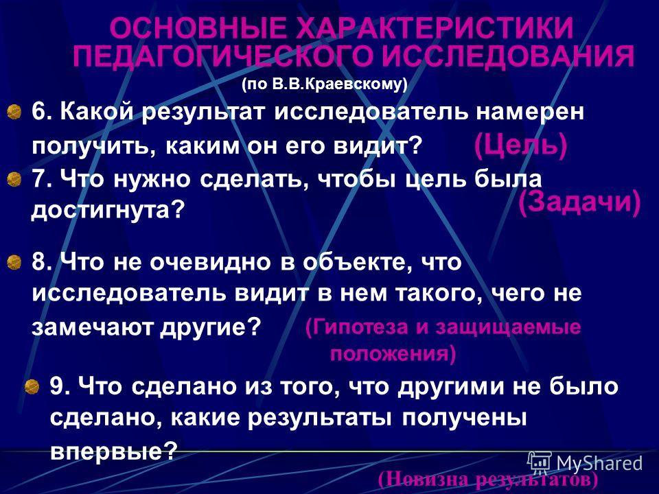 ОСНОВНЫЕ ХАРАКТЕРИСТИКИ ПЕДАГОГИЧЕСКОГО ИССЛЕДОВАНИЯ (по В.В.Краевскому) 6. Какой результат исследователь намерен получить, каким он его видит? (Цель) 7. Что нужно сделать, чтобы цель была достигнута? (Задачи) 8. Что не очевидно в объекте, что исслед