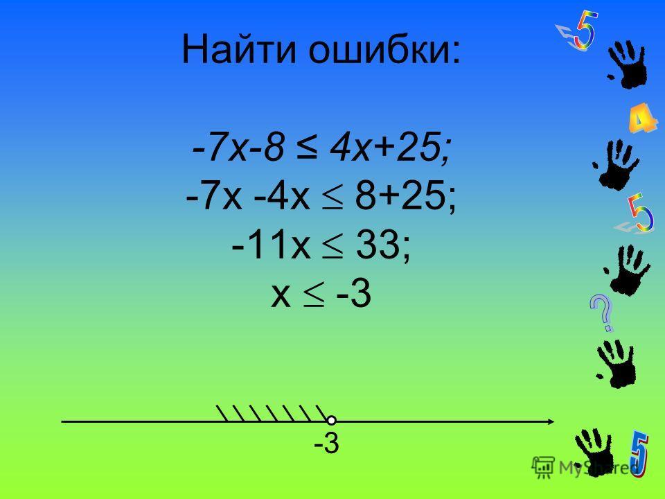 Найти ошибки: -7x-8 4x+25; -7х -4х 8+25; -11х 33; х -3 -3