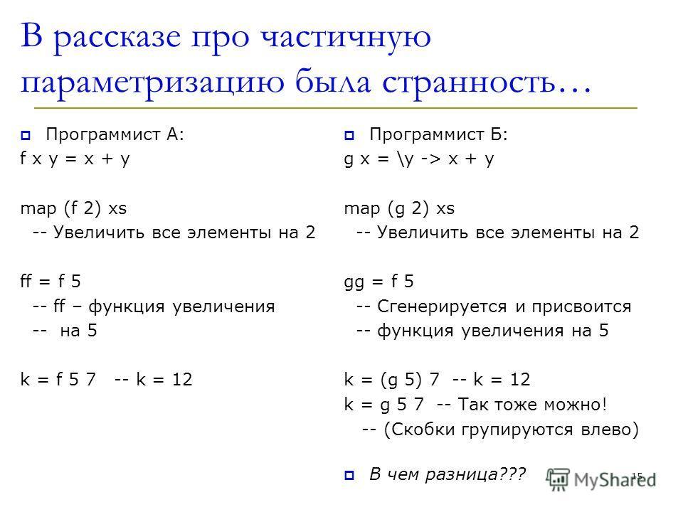 В рассказе про частичную параметризацию была странность… Программист A: f x y = x + y map (f 2) xs -- Увеличить все элементы на 2 ff = f 5 -- ff – функция увеличения -- на 5 k = f 5 7 -- k = 12 Программист Б: g x = \y -> x + y map (g 2) xs -- Увеличи