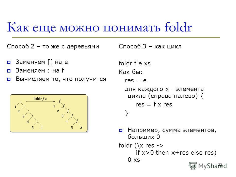 Как еще можно понимать foldr Способ 2 – то же с деревьями Заменяем [] на e Заменяем : на f Вычисляем то, что получится Способ 3 – как цикл foldr f e xs Как бы: res = e для каждого x - элемента цикла (справа налево) { res = f x res } Например, сумма э