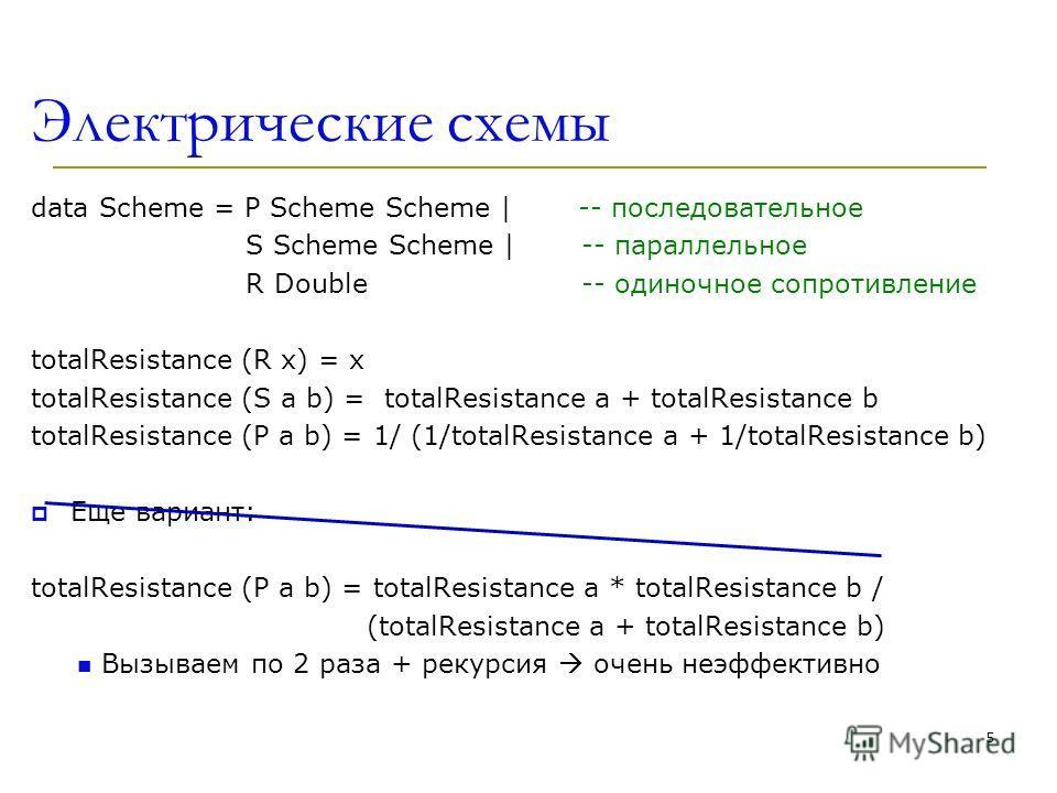 Электрические схемы data Scheme = P Scheme Scheme | -- последовательное S Scheme Scheme | -- параллельное R Double -- одиночное сопротивление totalResistance (R x) = x totalResistance (S a b) = totalResistance a + totalResistance b totalResistance (P