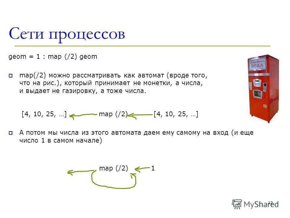 Сети процессов geom = 1 : map (/2) geom map(/2) можно рассматривать как автомат (вроде того, что на рис.), который принимает не монетки, а числа, и выдает не газировку, а тоже числа. [4, 10, 25, …] map (/2) [4, 10, 25, …] А потом мы числа из этого ав