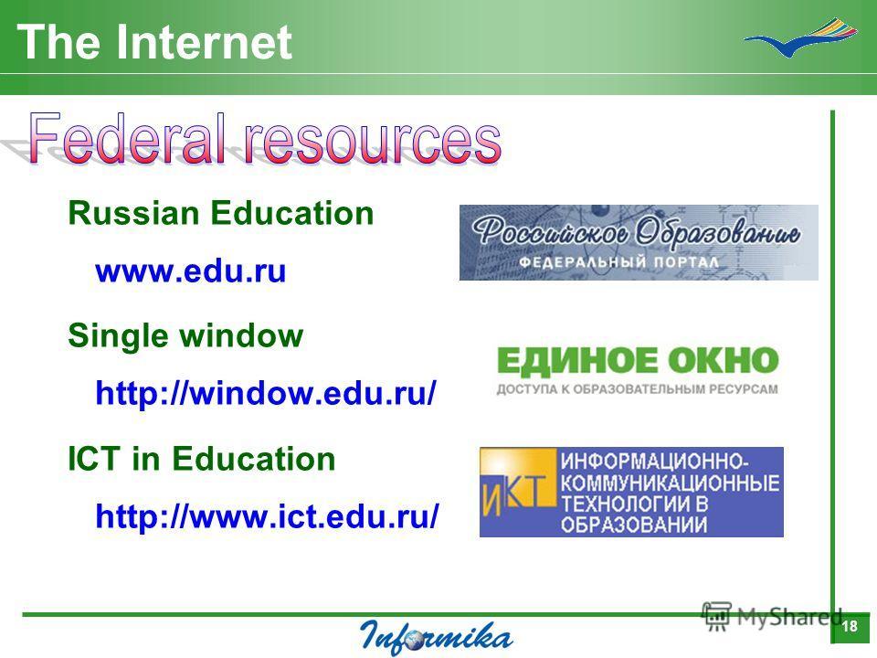 18 The Internet Russian Education www.edu.ru Single window http://window.edu.ru/ ICT in Education http://www.ict.edu.ru/