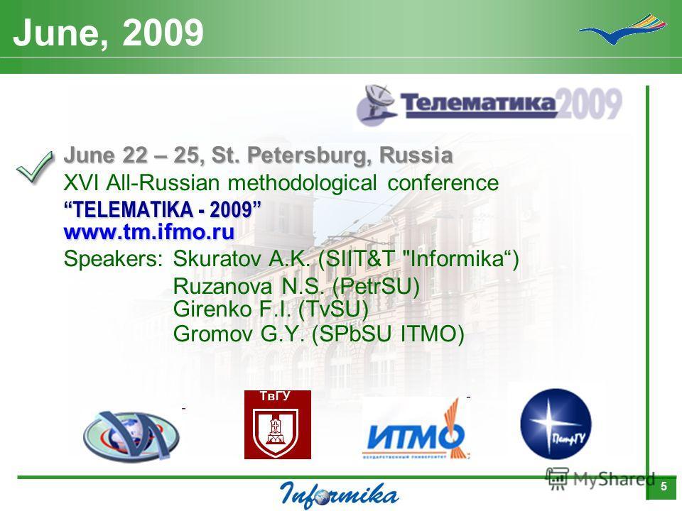 5 June, 2009 June 22 – 25, St. Petersburg, Russia XVI All-Russian methodological conference TELEMATIKA - 2009 www.tm.ifmo.ru Speakers:Skuratov A.K. (SIIT&T Informika) Ruzanova N.S. (PetrSU) Girenko F.I. (TvSU) Gromov G.Y. (SPbSU ITMO)