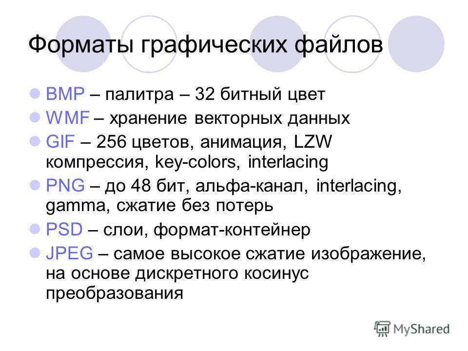 Форматы графических файлов BMP – палитра – 32 битный цвет WMF – хранение векторных данных GIF – 256 цветов, анимация, LZW компрессия, key-colors, interlacing PNG – до 48 бит, альфа-канал, interlacing, gamma, сжатие без потерь PSD – слои, формат-конте