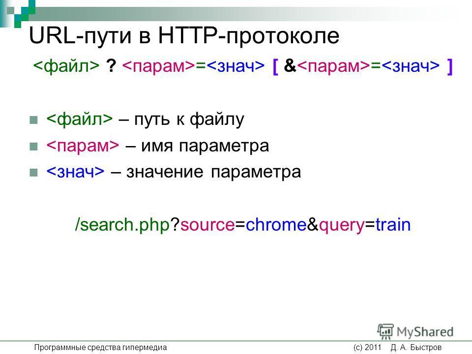 URL-пути в HTTP-протоколе ? = [ & = ] – путь к файлу – имя параметра – значение параметра /search.php?source=chrome&query=train Программные средства гипермедиа (c) 2011 Д. А. Быстров