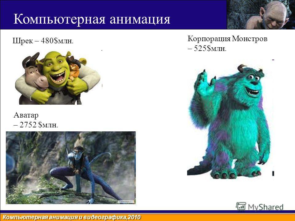 Компьютерная анимация и видеографика,2010 Шрек – 480$млн. Корпорация Монстров – 525$млн. Аватар – 2752 $млн. Компьютерная анимация