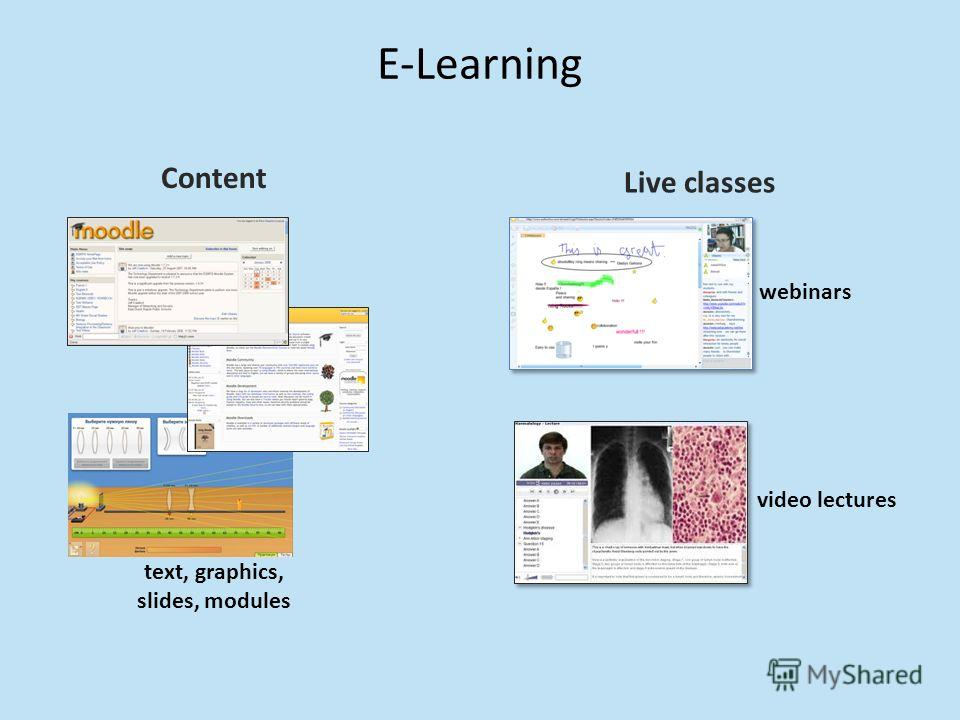E-Learning Content text, graphics, slides, modules Live classes webinars video lectures