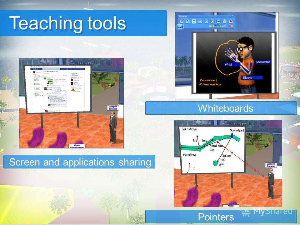 Teaching tools Whiteboards Screen and applications sharing Pointers