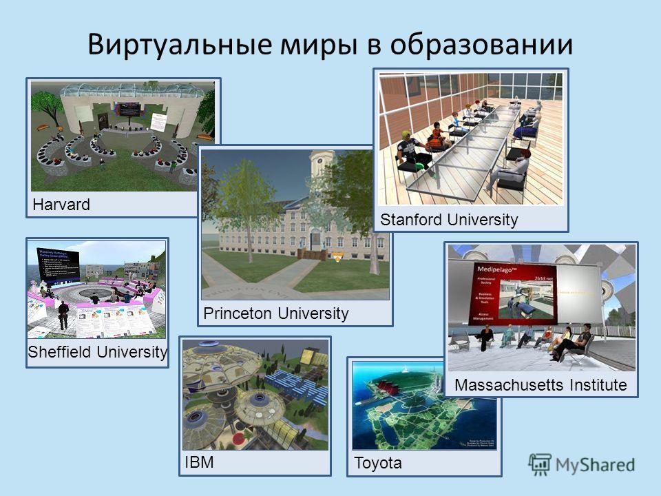 IBM Виртуальные миры в образовании Harvard Princeton University Sheffield University Stanford University Toyota Massachusetts Institute