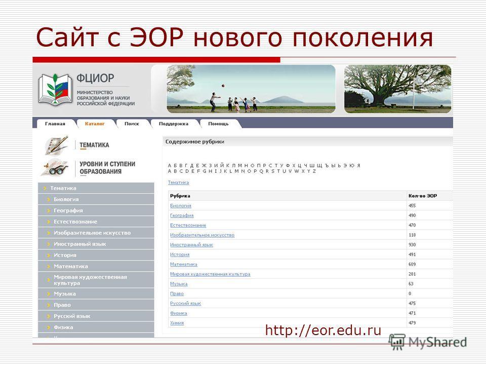 Сайт с ЭОР нового поколения http://eor.edu.ru