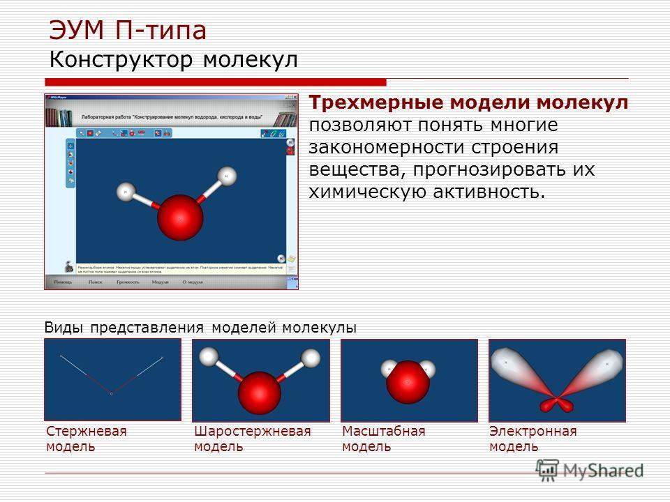 ЭУМ П-типа Конструктор молекул Стержневая модель Шаростержневая модель Масштабная модель Электронная модель Трехмерные модели молекул позволяют понять многие закономерности строения вещества, прогнозировать их химическую активность. Виды представлени