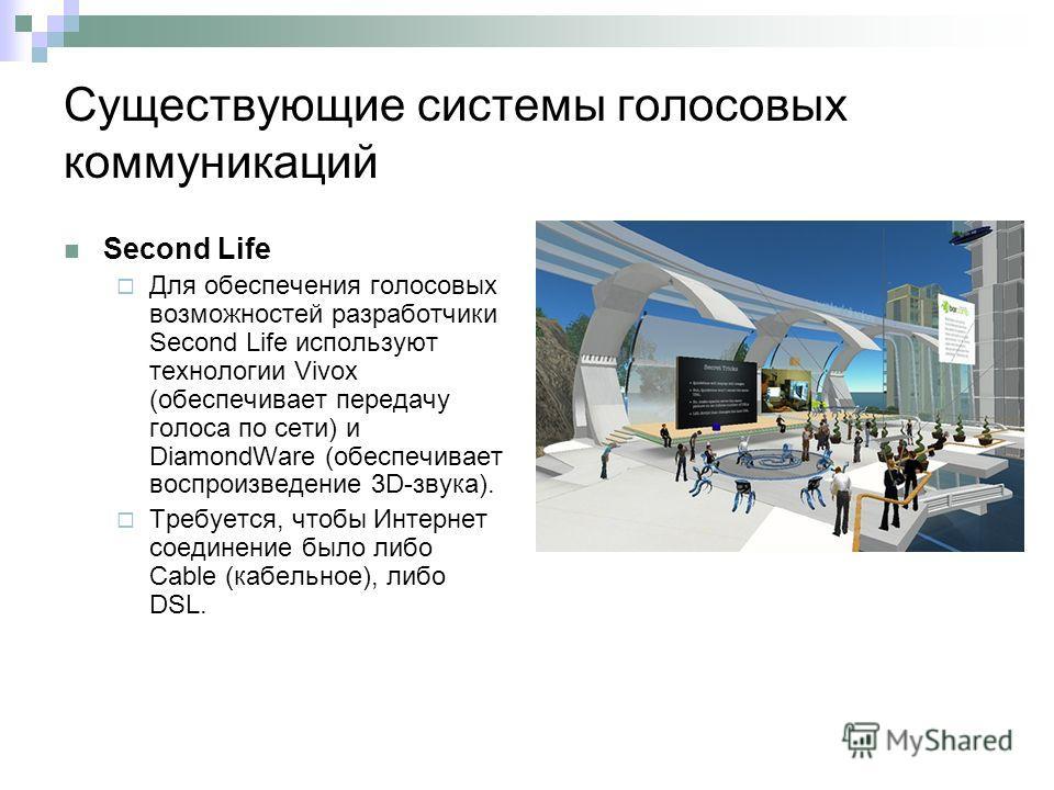 Существующие системы голосовых коммуникаций Second Life Для обеспечения голосовых возможностей разработчики Second Life используют технологии Vivox (обеспечивает передачу голоса по сети) и DiamondWare (обеспечивает воспроизведение 3D-звука). Требуетс