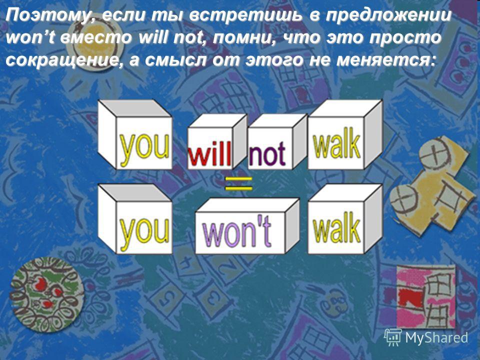 Поэтому, если ты встретишь в предложении wont вместо will not, помни, что это просто сокращение, а смысл от этого не меняется: