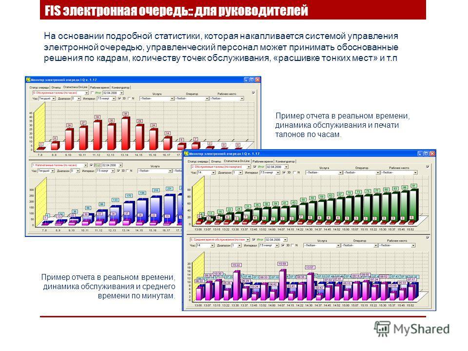 На основании подробной статистики, которая накапливается системой управления электронной очередью, управленческий персонал может принимать обоснованные решения по кадрам, количеству точек обслуживания, «расшивке тонких мест» и т.п FIS электронная оче