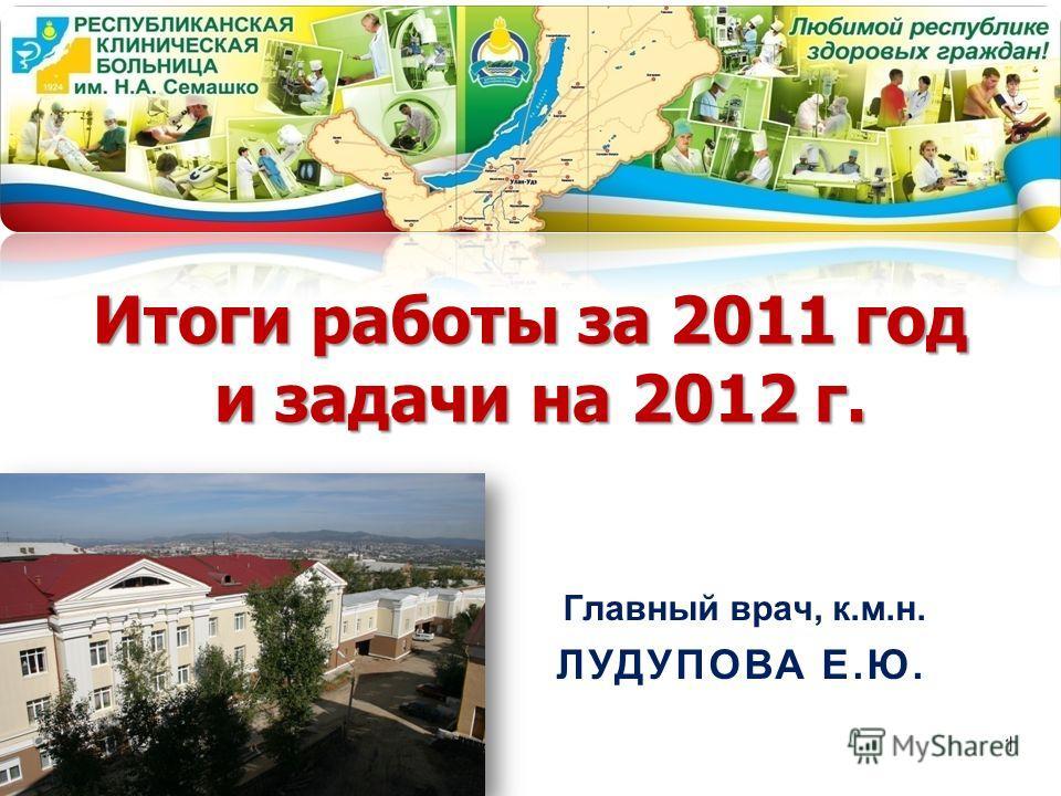 Итоги работы за 2011 год и задачи на 2012 г. Главный врач, к.м.н. ЛУДУПОВА Е.Ю. 1