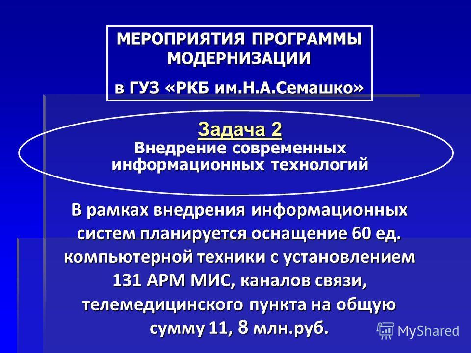 Задача 2 Внедрение современных информационных технологий В рамках внедрения информационных систем планируется оснащение 60 ед. компьютерной техники с установлением 131 АРМ МИС, каналов связи, телемедицинского пункта на общую сумму 11, 8 млн.руб. МЕРО