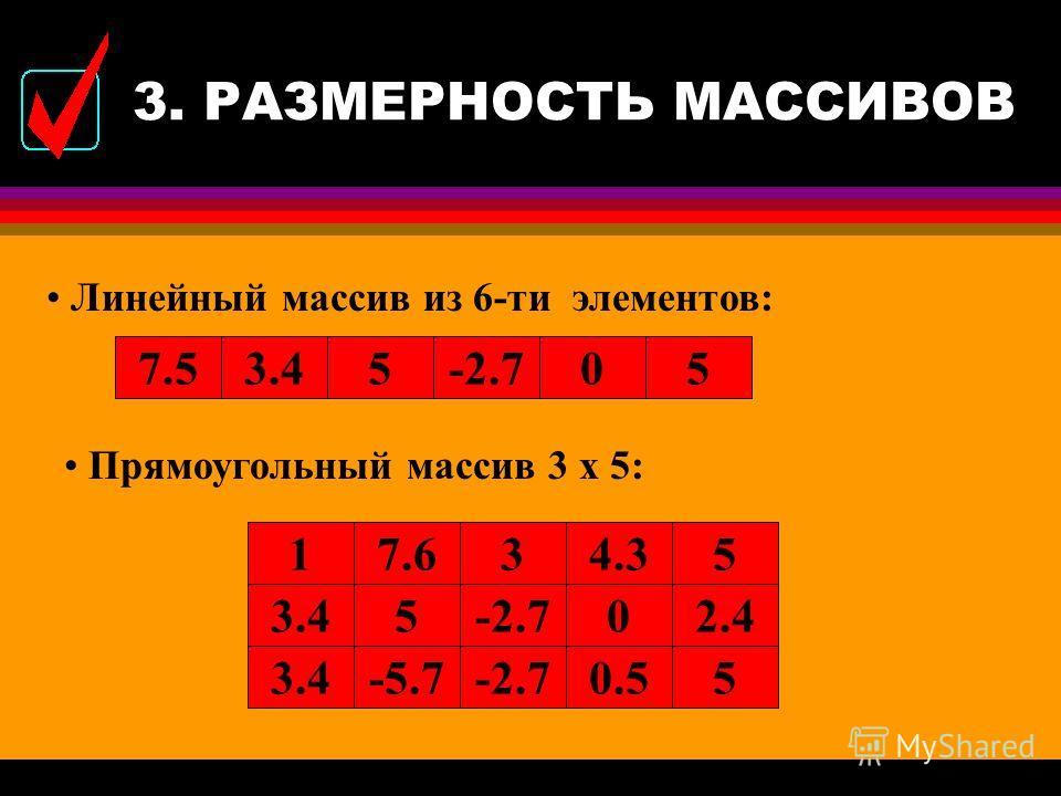 3. РАЗМЕРНОСТЬ МАССИВОВ l Если при описании массива задан один индекс, массив называется одномерным (линейным), если два индекса - двумерным (прямоугольным), если n индексов - n-мерным. l Одномерный массив в математике называется вектор, а двумерный